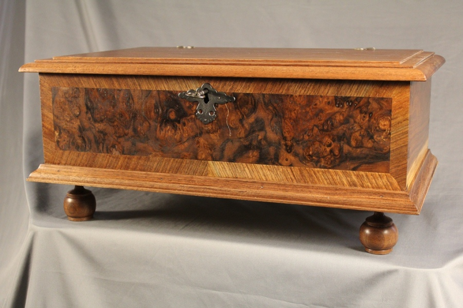 William & Mary Walnut Burl Veneered Bible Box