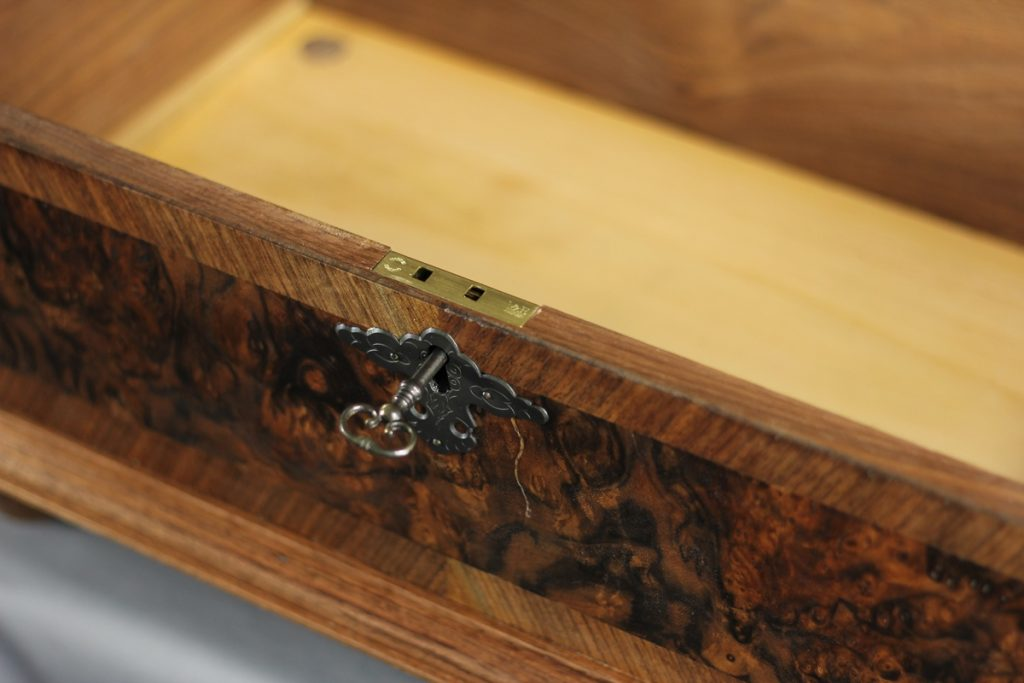 William & Mary Walnut Burl Veneered Bible Box