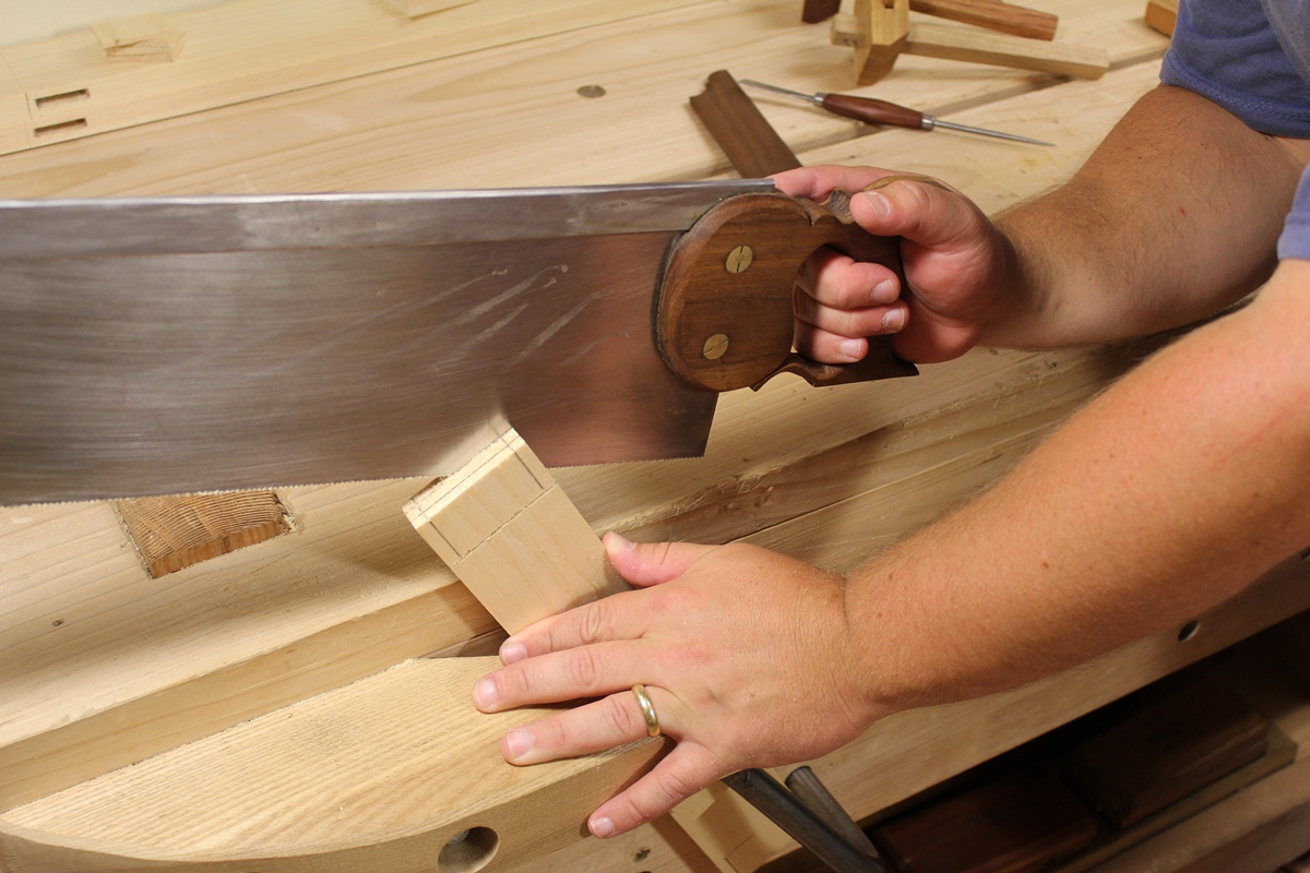 Sawing a tenon cheek