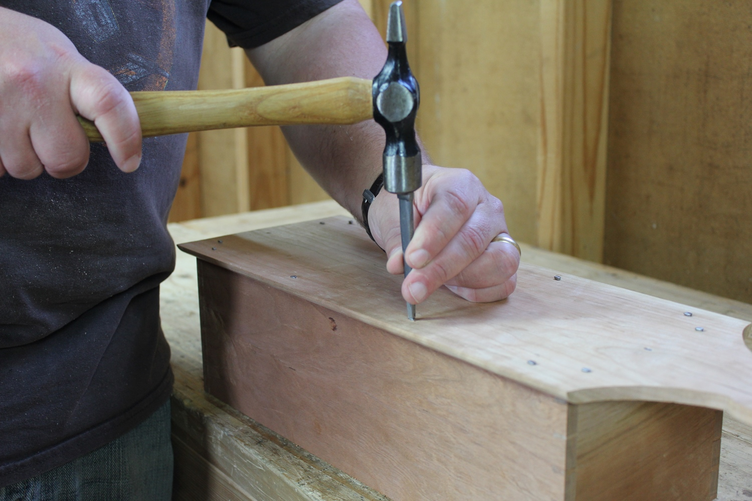Setting the finish nails