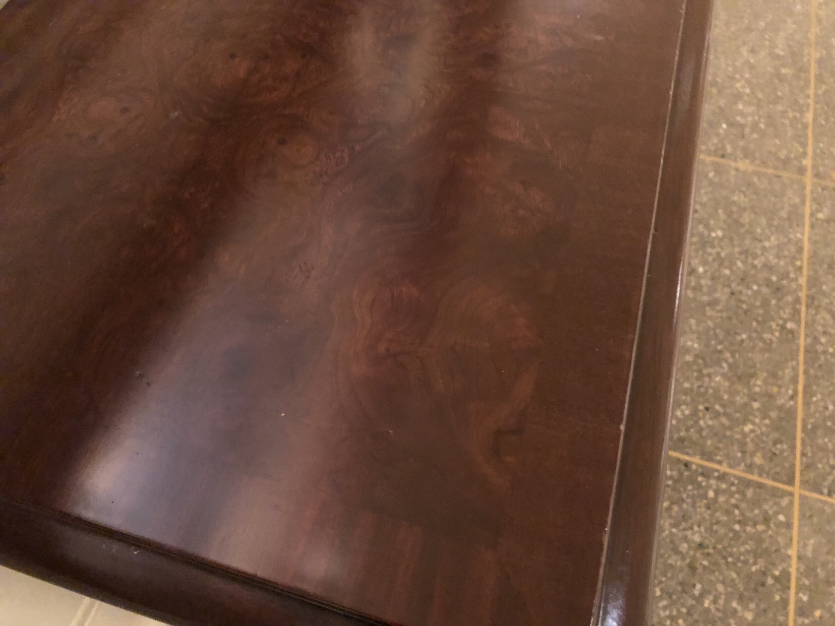 """Chippendale"" side table top detail."