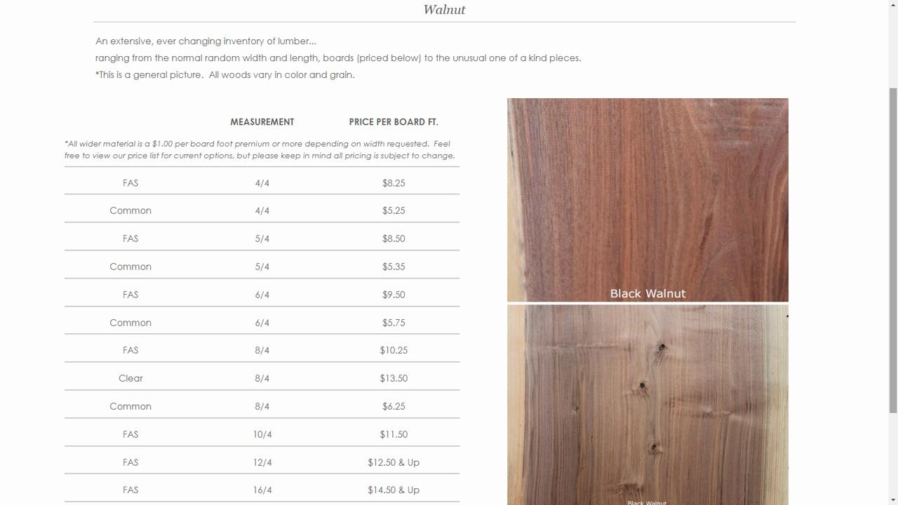 Lumber Price List