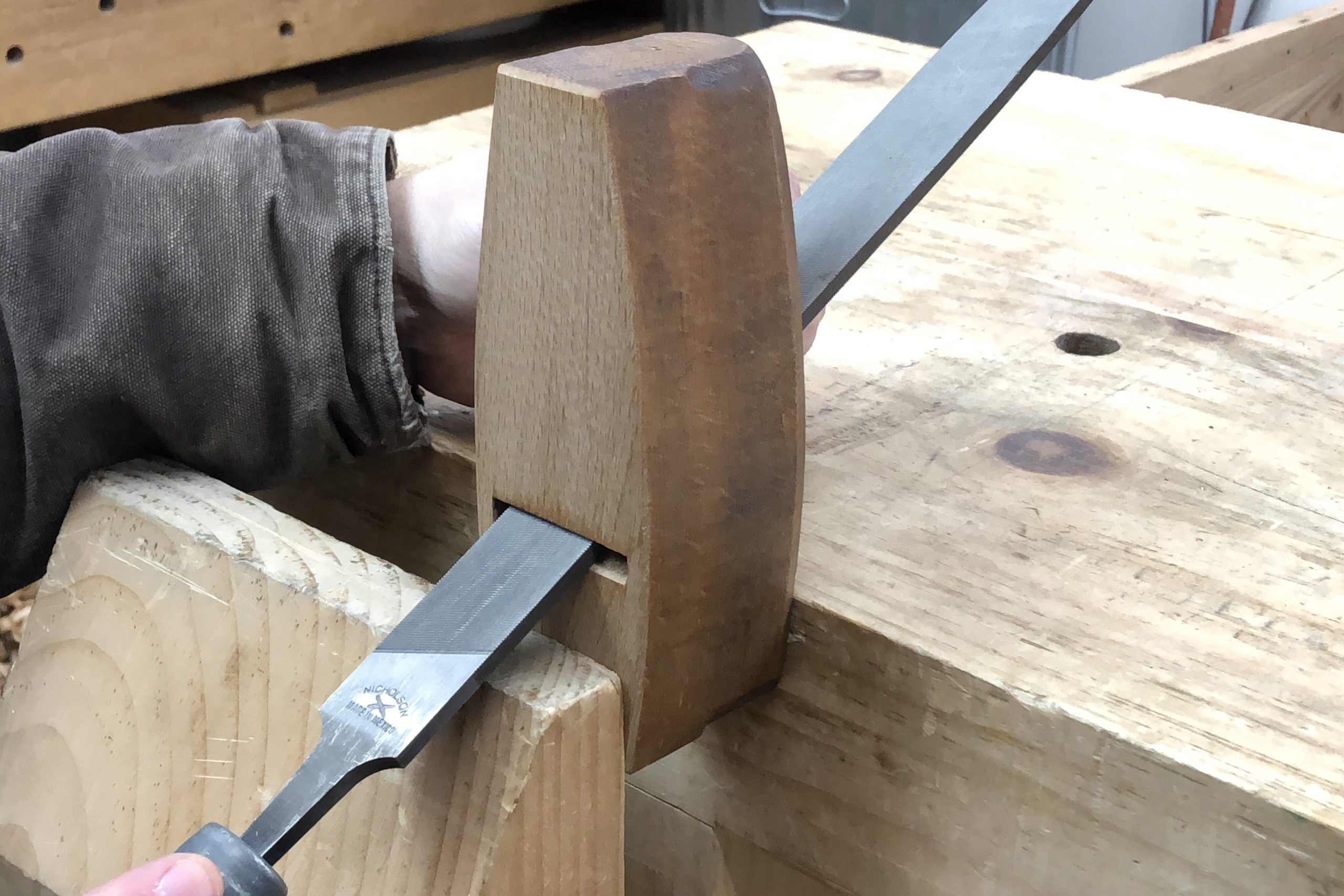 Filing the Throat of a Wooden Hand Plane